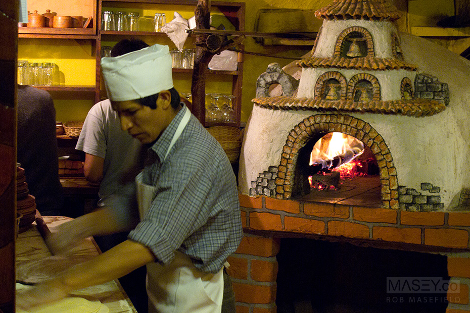 Old fashioned wood-fired pizza at 'El Molino' in Cuzco.