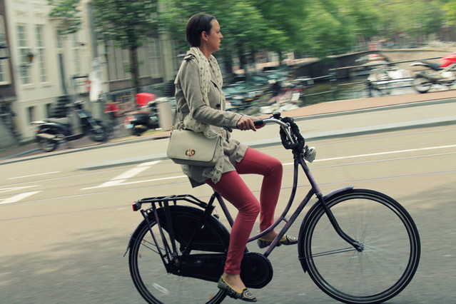 Red pants, purple bike