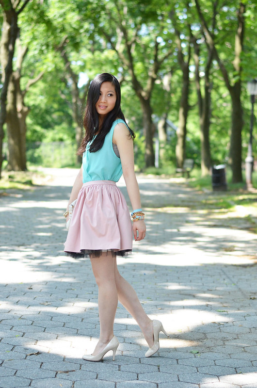 pretty pastel pink & turquoise outfit