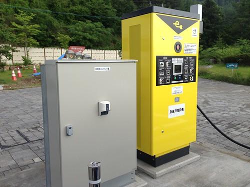 岡山道 高梁(たかはし)SA上り EV急速充電器 200V普通充電コンセントも併設