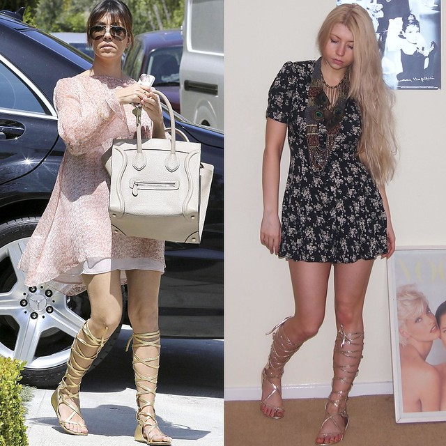 Kourtney Kardashian, Chanel, Resort 2011, Sam Muses, eBay, UK Fashion Blog, London Blogger, Floral Dress, Playsuit, Gold, Knee-High Gladiator Sandals, Long, High-Leg