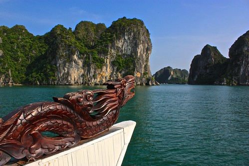 The dragon on the front of our boat leads the way deeper into Ha Long Bay