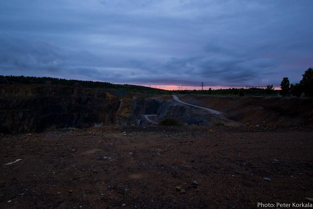 Solnedgång vid Falu Gruva