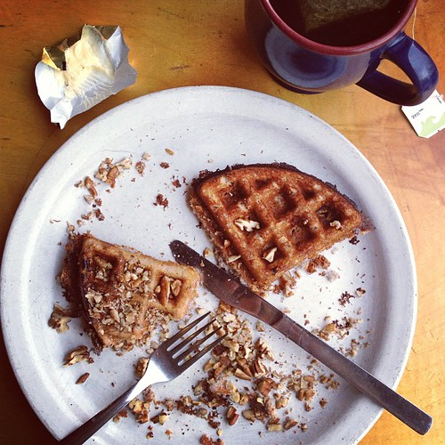 #septfoodphotos 27 | when all you want is waffles and tea this is #goodforyou. Blue corn pecan waffles at 5 in the afternoon to be exact, perfect.