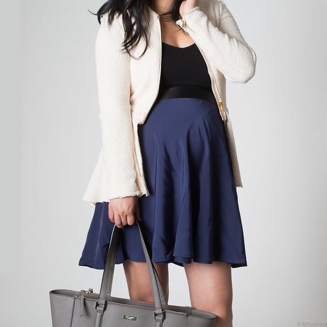 Zara peplum blazer, phillip lim target skirt, Zara wedge sneakers, Kate Spade tote