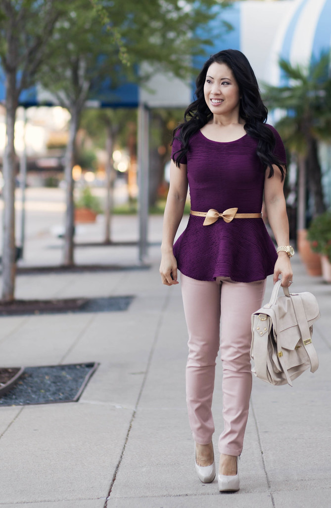 cute & little blog | purple peplum, gold bow belt, pink pants outfit #ootd