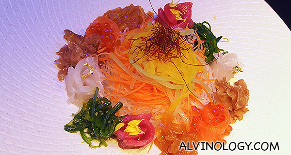 Close-up of the Japanese yusheng