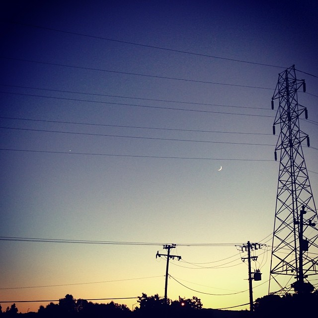 Star light, star bright. First star I see tonight... #sunset #star #moon #powerlines #instagood #instahub