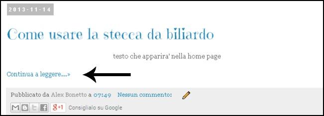 esempio nella home page, come usare la stecca da biliardo,