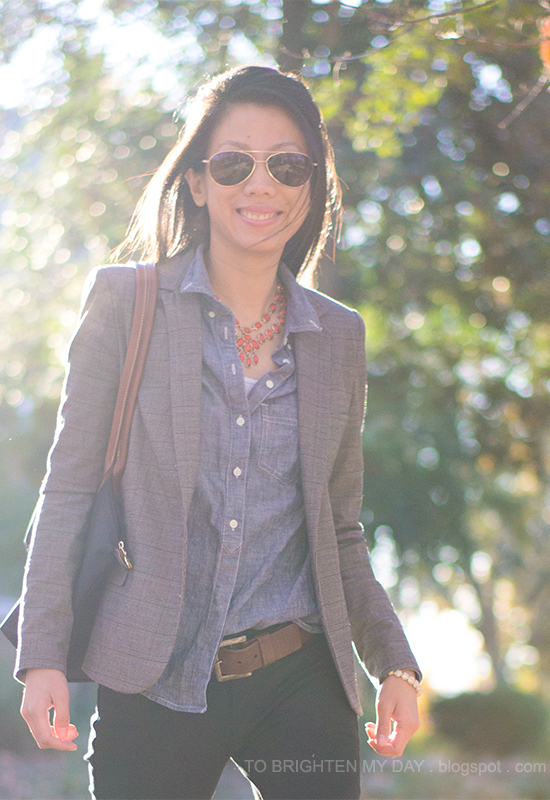 plaid blazer, coral necklace, chambray shirt