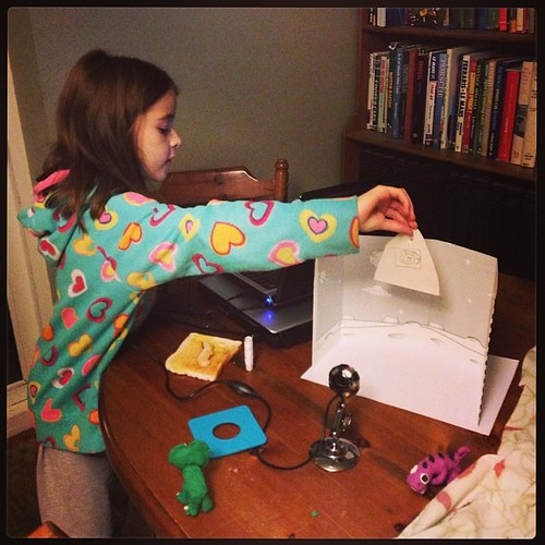 Busy working with her ZU3D animation kit. There are Dinosaurs in Space! #review