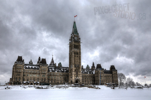Parliament in a White Blanket