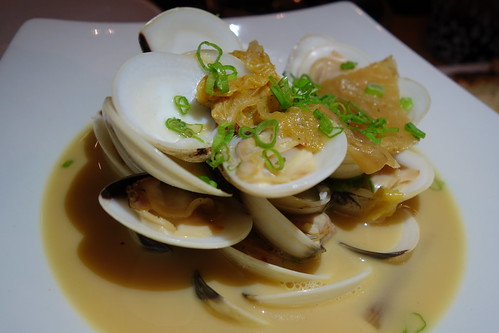 Morsels - Entree: Steamed Clams, Fig Broth, Homemade Kimchee, Pickled Wakame & Spring Onions