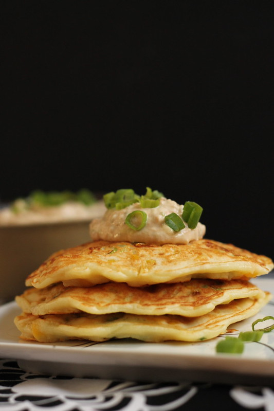 Stacked corn cakes