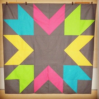 My finished quilt top!  changed from coral to yellow because I had not enough fabric... #giantstarburst