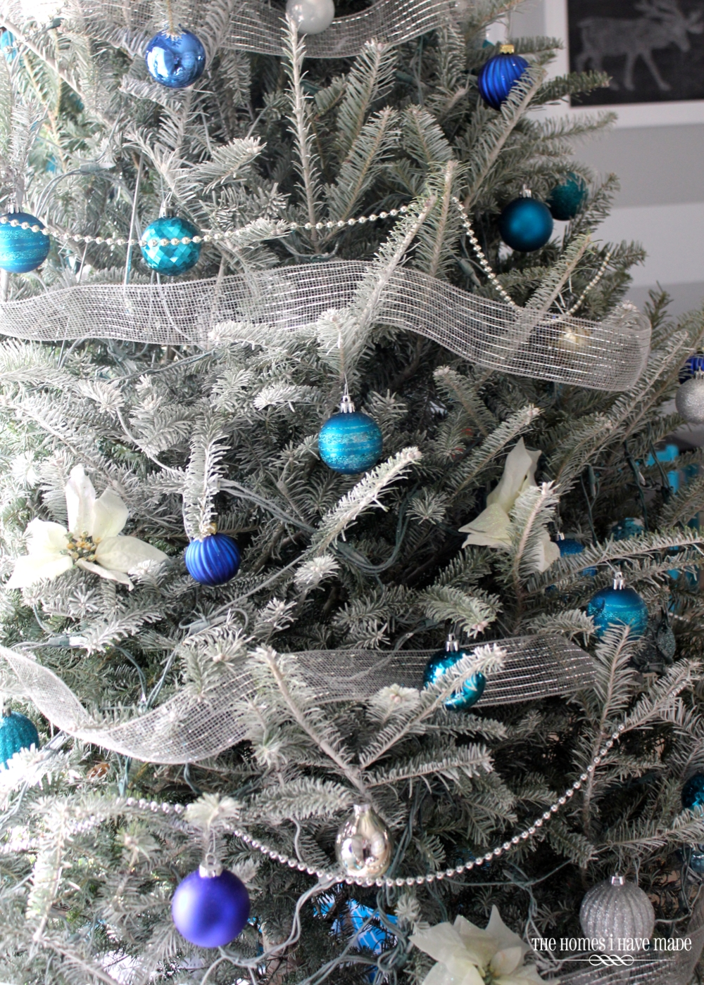 holiday living room 2013 003 - Blue And Silver Christmas Decorations