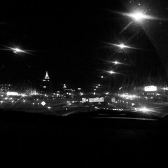 Atlanta skyline driving to the airport #lovemycity #sometimes #Atlanta #skyline #skyscrapers #blackandwhite #highwayview #goodmorning #presunrise