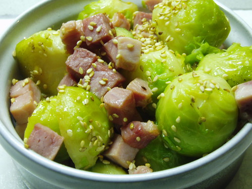 Sesame and ham sprouts - Sesam-Schinken-Rosenkohl