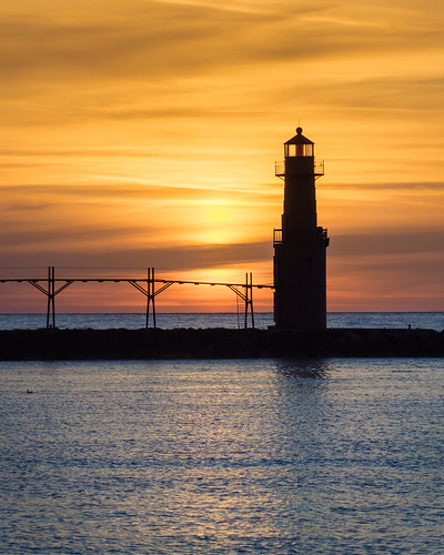 Algoma, Lighthouse, Sunrise, Silhouette