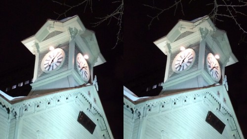 [Daily Cha cha S3-D] Sapporo Clock Tower Tonight.  Parallele eye.  今夜の札幌時計台、 平行法。
