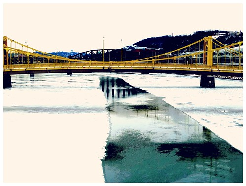 bridge winter river pittsburgh pennsylvania january allegheny erjkprunczyk
