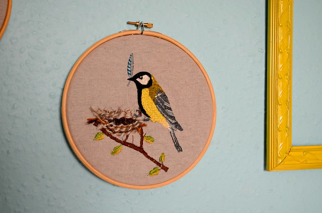 Tend Great Tit free embroidery pattern