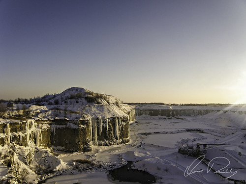 Frozen Quarry At Sunset