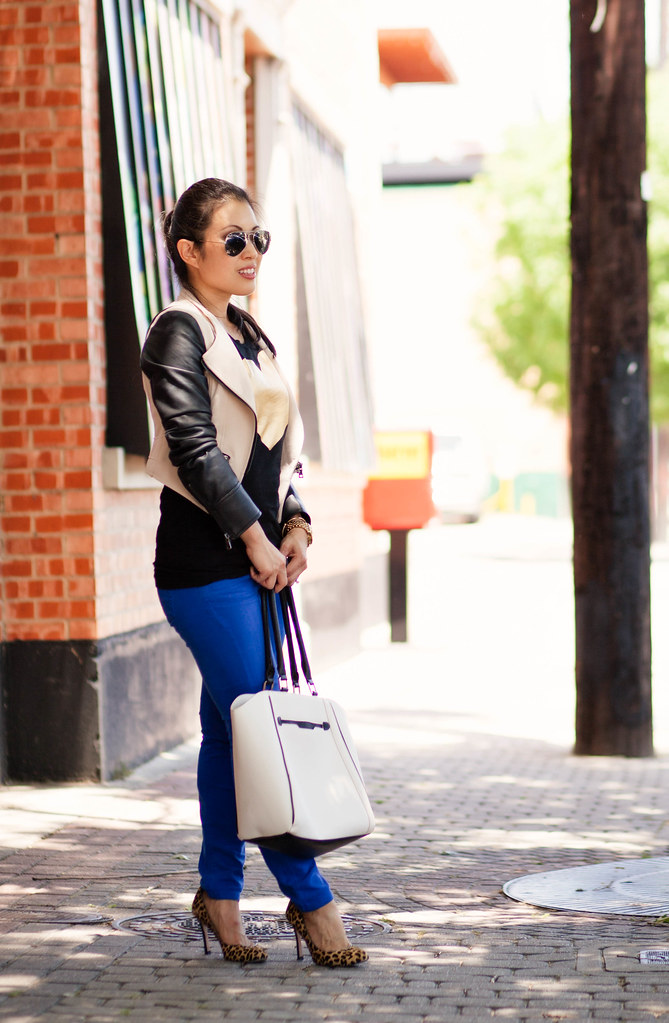 cute & little blog | sheinside khaki leather sleeves moto jacket, heart tee, cobalt pants, leopard pumps, ray ban mirrored aviators