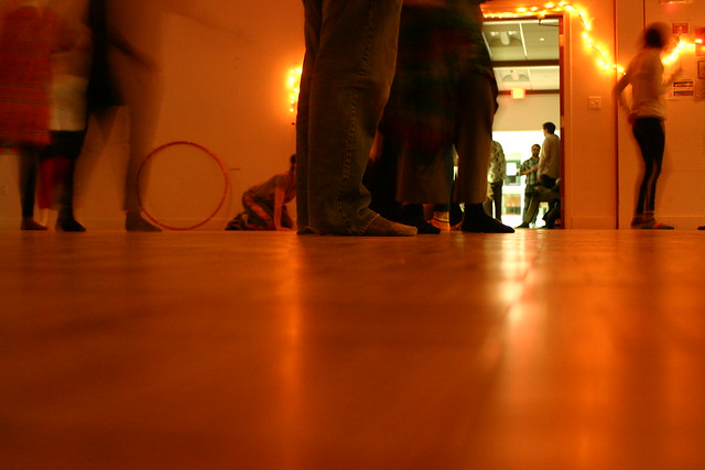 view of feet in dance space