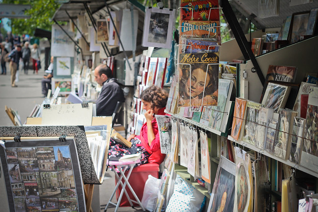 Bouquiniste along the Seine River, Paris