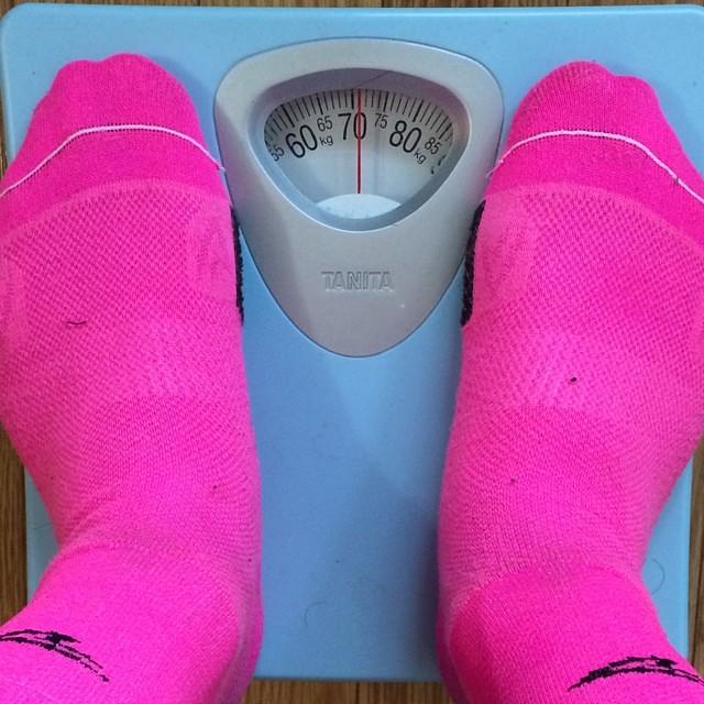 ライド直後ですが、体重71kgでした。この2ヶ月で10キロ痩せました