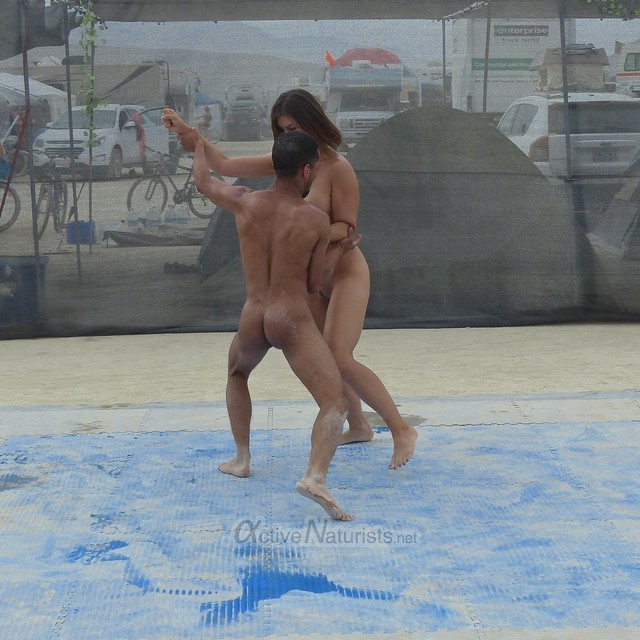 naturist wrestling camp Gymnasium 0026 Burning Man, Black Rock City, NV, USA