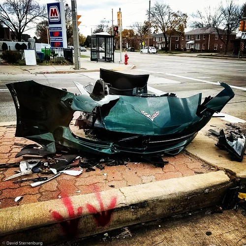 Green is a nice color on a #Corvette. #car #accident #street