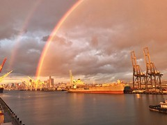 64/365 #doublerainbow at #sunset today. #viewfromwork #seattle #project365 #day64 #64of365