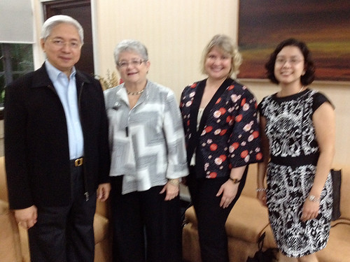 <p>After a very full day of these meetings, UH President M.R.C. Greenwood and UH Manoa College of Social Sciences Dean Denise Konan were treated to dinner with the UH Philippines alumni group president Pascual (left) and at least one very recent UH alumna (right).</p>