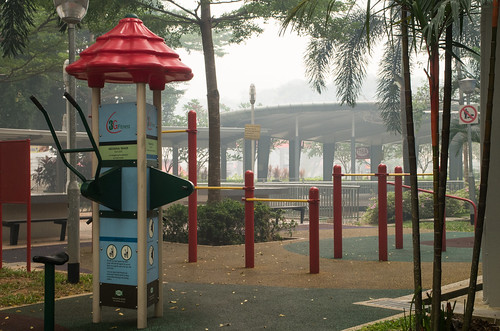 A playground at Bukit Merah Central deserted - the haze has kept everybody indoors.