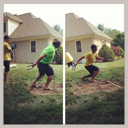 Father vs Son horseshoes.. #family