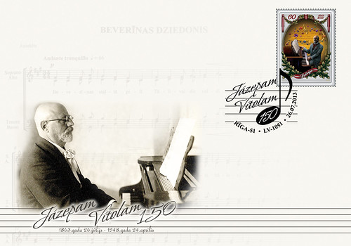 """Pirmās dienas aploksne """"Komponistam Jāzepam Vītolam - 150"""""""