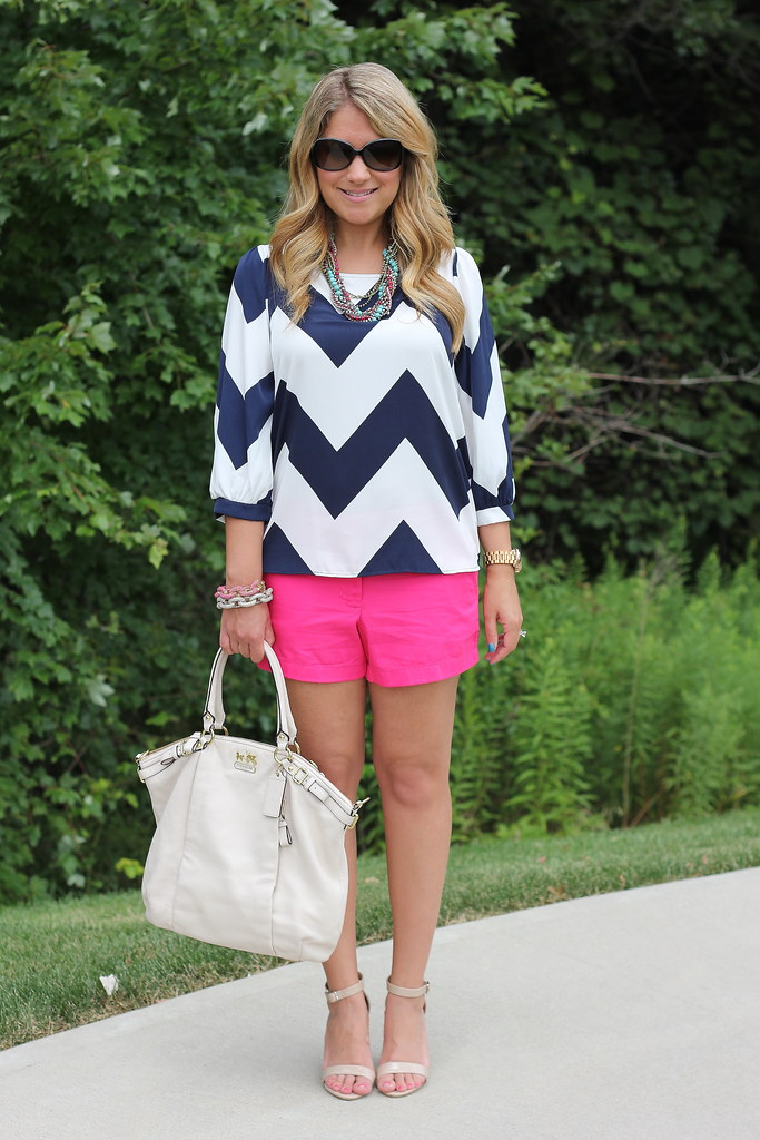 Navy Chevron Top Stella Dot Bamboleo summer outfit idea