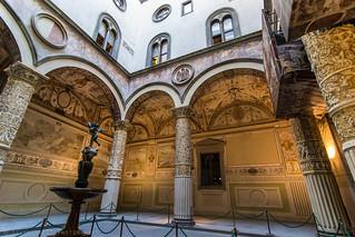 Interior courtyard of Palazzo Vecchio with Putto with Dolphin by Andrea del Verrocchio (1470)