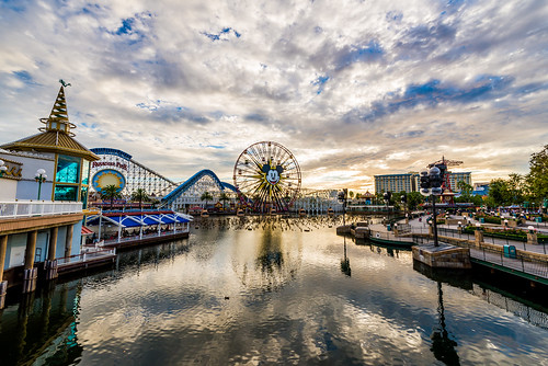 california sunset sky reflection water clouds pier nikon dusk disneyland disney mickey resort mickeymouse boardwalk ferriswheel anaheim dca ultrawide dlr californiaadventure uwa paradisepier d600 wideanglelenses 1424mm funwheel