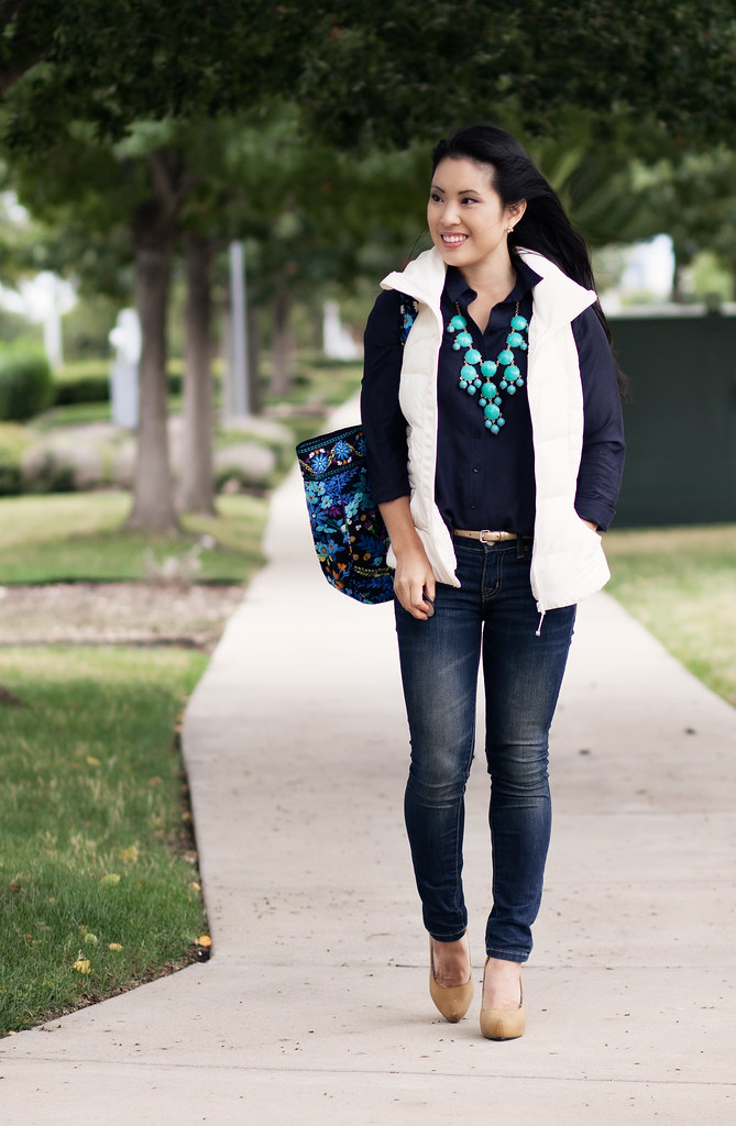 lululemon fluffin' awesome white quilted puffer vest, navy button shirt, bdg grazer skinny jeans, mustard pumps, ily couture turquoise bubble necklace, vera bradley grand tote in midnight blues outfit #ootd
