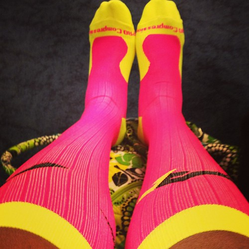 Rocking my @procompression socks at DFW! #rnrden kicked my butt! #running #runchat #recovery