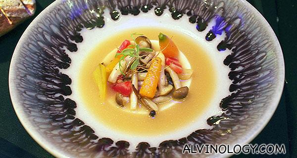 Main 2: John Dory - tempura, tofu, mini vegetable, dashi consomme