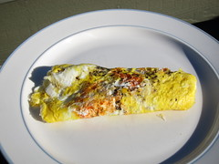 Cheese Omelet Seasoned with Tabasco Sauce and Basi…