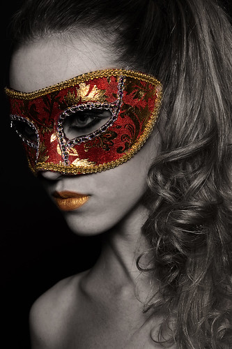 Gold and red mask