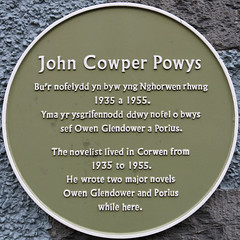 Photo of John Cowper Powys green plaque