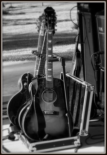 "Guitars at a ""Toppermost"" (Beatles Tribute Band) Concert [B&W Version]--Lathrup Village MI"