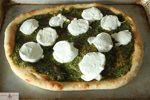 Pesto and Roasted Red Pepper Pizza