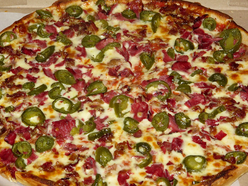 Bacon, pastrami, and jalapeno pizza by Coyoty